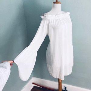 Vintage Bell Sleeve Sheer Dress Off Shoulder Mod